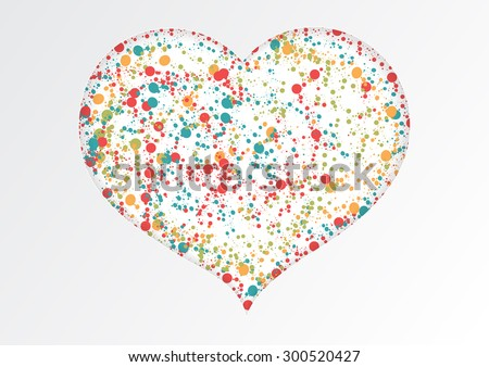 colorful circle in white paper heart