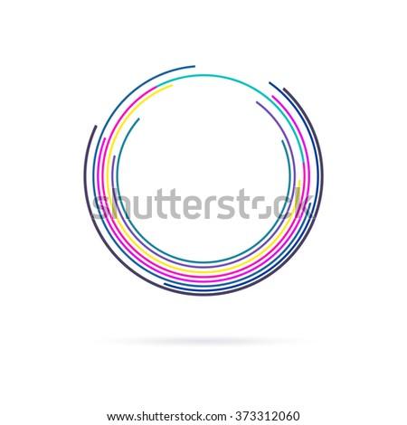 colorful circle lines logo symbol - stock vector
