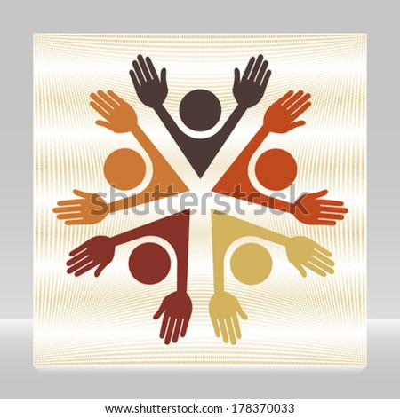 Colorful circle of people vector.