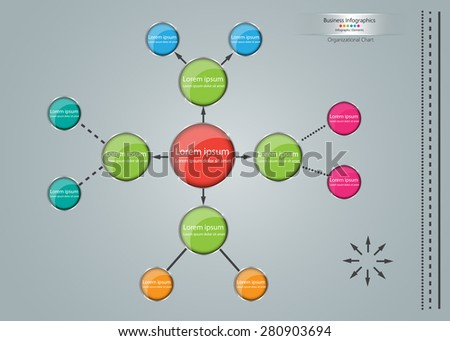 Colorful Circle Organizational Chart Infographic, Business Structure Concept, Business Flowchart Work Process, Vector Illustration. - stock vector