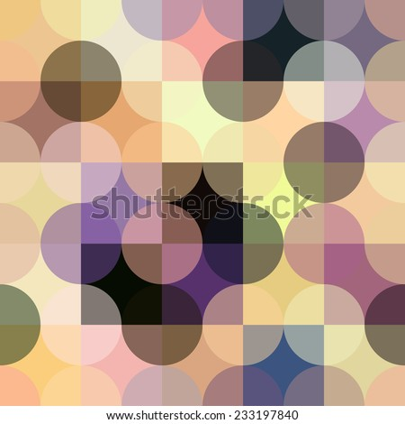 Colorful circle square geometric seamless pattern. Purple abstract background. - stock vector
