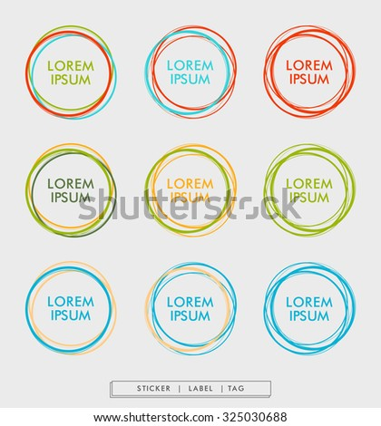 Colorful circle sticker in lines. Vector illustration. EPS 10
