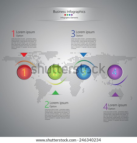 Colorful Circle With Number and Informational Text, Sine Wave, Wolrd Map on Abstract Gray Background, Modern Template Design, Vector Illustration - stock vector