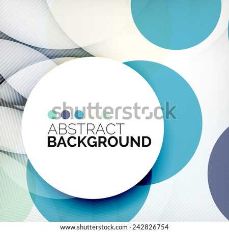 Colorful circles modern abstract composition with shadows and text. Geometric background - stock vector