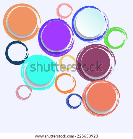 Colorful circles paper with brush stroke
