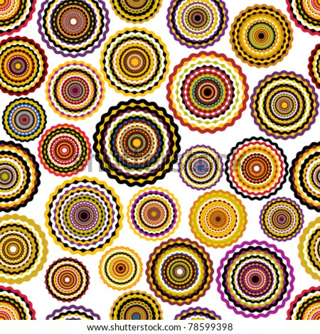 Colorful circles seamless pattern. Vector repeat background. - stock vector