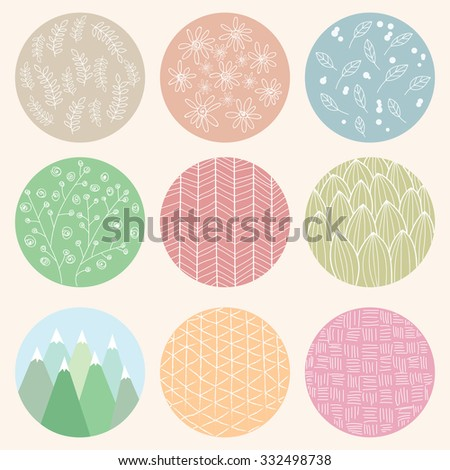 Colorful circles with flower and line patterns, vector illustration - stock vector