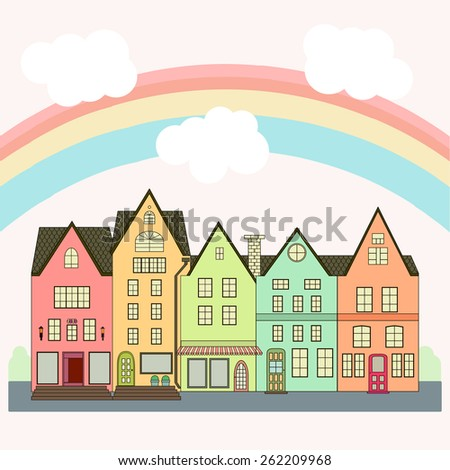 Colorful city and cloudy sky - stock vector