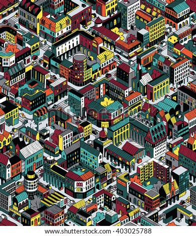 Colorful City Blocks Isometric Seamless Pattern (Medium) is hand drawing with perimeter blocks, courtyards, streets and traffic. Illustration eps8 vector; pattern repetitive; colors on separate layer.