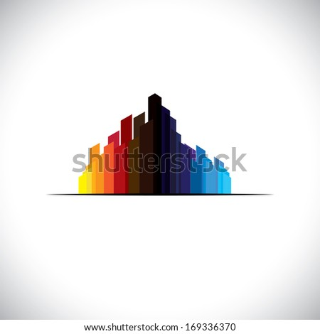 Colorful city downtown icon of tall commercial buildings - vector graphic. The abstract illustration of a metropolis  contains high rises & tall towers in colors like red, orange, black, blue, etc - stock vector