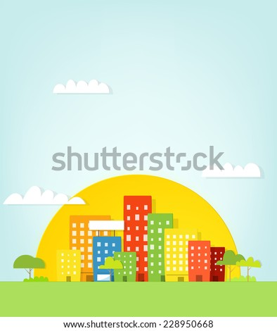 Colorful city in sunset - stock vector
