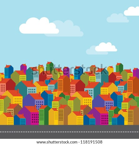 colorful city landscape - stock vector