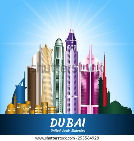 Colorful City of Dubai UAE Famous Buildings. Editable Vector Illustration - stock vector