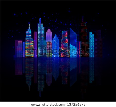 Colorful city panorama, cityscape at night, vector background. Tall buildings, towers, skyscrapers. - stock vector