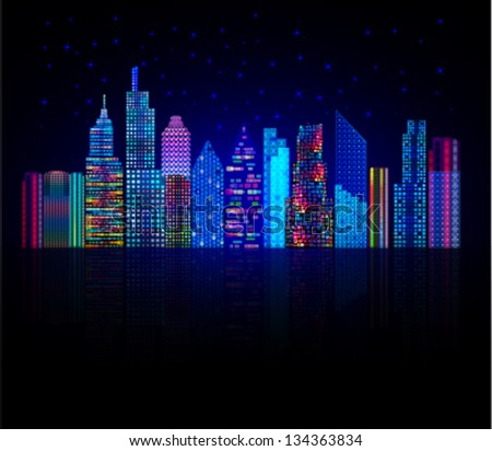Colorful city panorama, cityscape vector background. Tall buildings, towers, skyscrapers. - stock vector