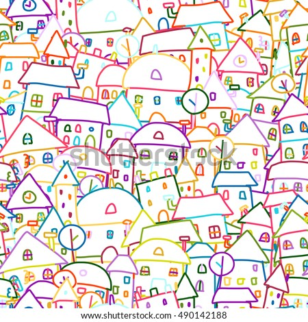Colorful city, seamless pattern for your design. Vector illustration