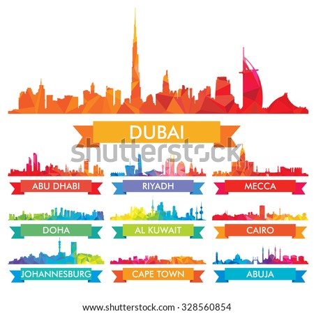Colorful city skyline The Arabian Peninsula and Africa - stock vector