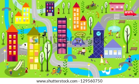 Colorful city with river - vector - stock vector