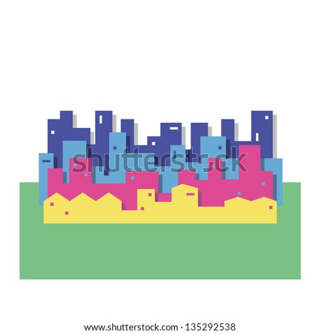colorful cityscape vector illustration - stock vector