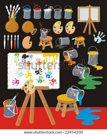 Colorful clip art collection with palettes, paintbrushes, paint cans, canvas, easels, pots,ink blots, hand-prints. - stock vector