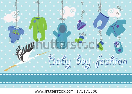 Colorful clothes for newborn baby-boy hanging on the rope on polka dot background. Design template, invitations,greeting card.Funny vector Illustration with stork. - stock vector
