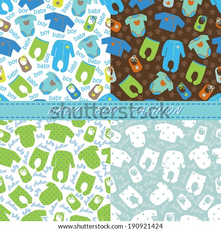 Colorful clothes for newborn baby-boy in seamless pattern set with words baby boy,stars,polka dot.Baby boy fashion.For fabrics,Wallpaper,packaging,background.Vector cartoon illustration - stock vector