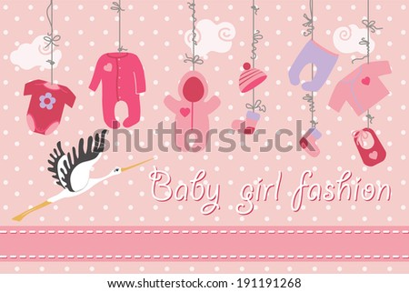 Colorful clothes for newborn baby girl hanging on the rope on polka dot background. Design template, invitations,greeting card..Funny vector Illustration with stork. - stock vector