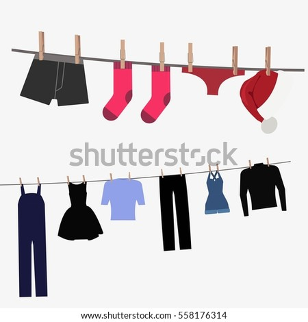 Colorful clothing hung by old wooden pegs. Underwear, trousers, dress, skirt, hat. Clothespins and stripes. Isolated on white background. Flat vector stock illustration