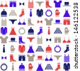 colorful clothing icons on white background - stock