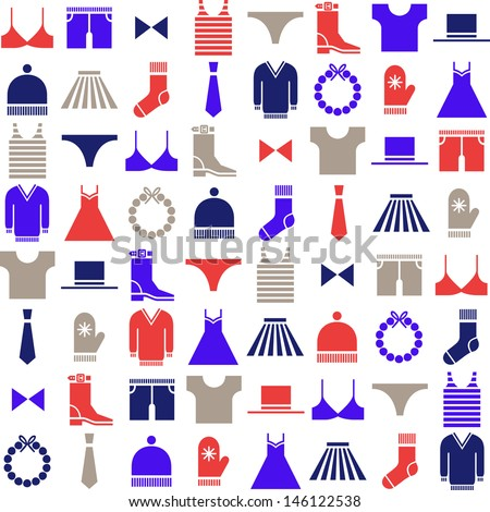 colorful clothing icons on white background - stock vector