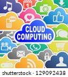 Colorful cloud computing applications background - stock vector