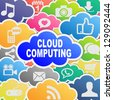 Colorful cloud computing applications background - stock photo