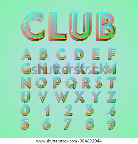 Colorful 'CLUB' neon lights typeset, vector - stock vector