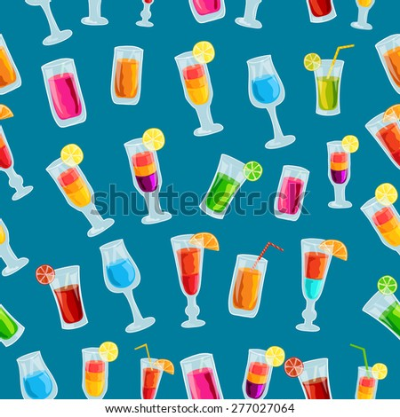 Colorful cocktail drink seamless pattern template concept. Icons design for your product or design, web and mobile applications. Vector flat with long shadow illustration on blue background - stock vector