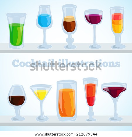 colorful coctail vector illustration background concept