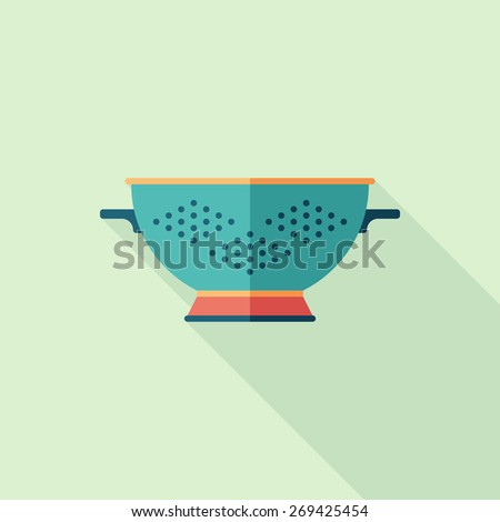 Colorful colander flat square icon with long shadows. - stock vector