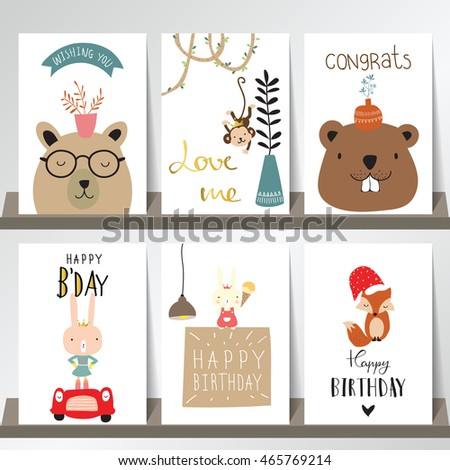 Colorful collection for banners,Flyers,Placards with fox,rabbit,bear,tree,monkey and bear
