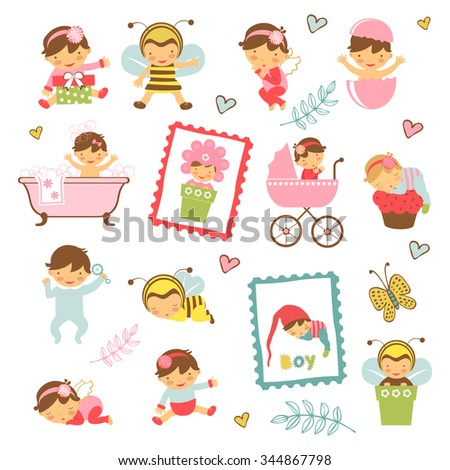 Colorful collection of adorable babies. Illustration in vector format - stock vector