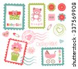 Colorful collection of baby girl announcement postal stamps. vector illustration - stock vector