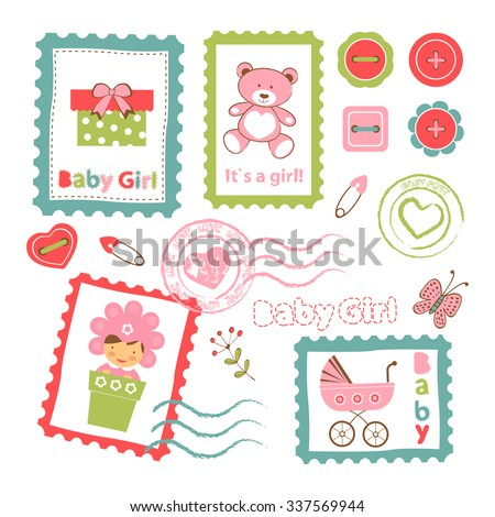 Colorful collection of baby girl announcement postal stamps. vector illustration
