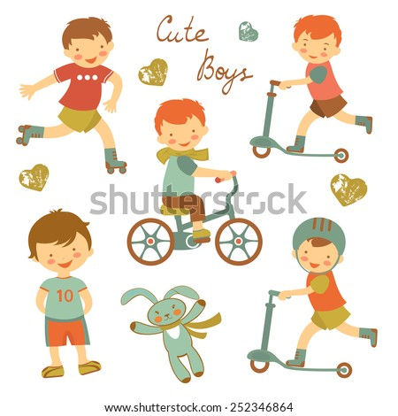 Colorful collection of cute little boys characters. vector illustration - stock vector
