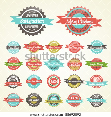 Colorful Collection of Premium Quality and Christmas Retro Badges - stock vector