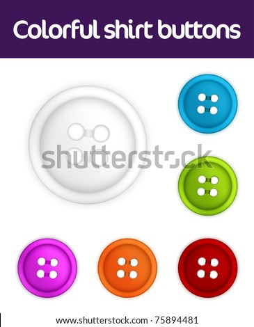 Colorful collection of realistic shirt buttons - stock vector