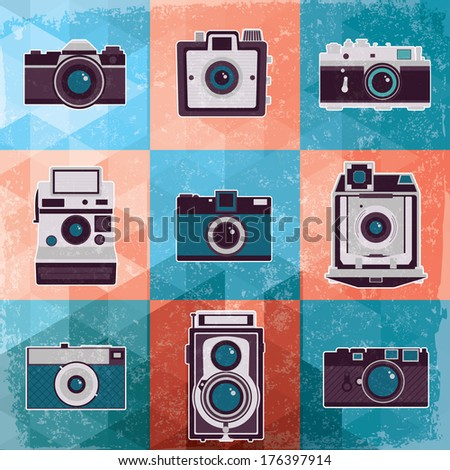 Colorful collection of retro camera set. Vintage vector illustration