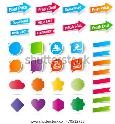 Colorful collection of sale labels, stickers and banners - stock vector