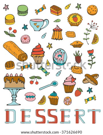 Colorful collection of sweet desserts. Illustration in vector format - stock vector