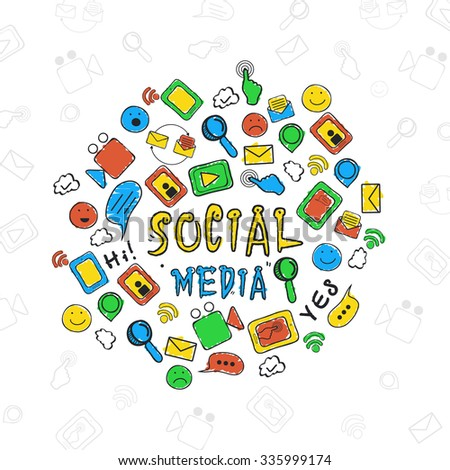 Colorful collections of Social Media icons or symbol for online communication concept. - stock vector