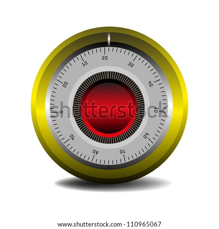 Colorful combination lock isolated on a white background