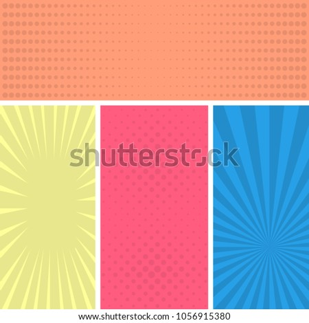 Colorful comic book page background pop stock vector 1056915380 colorful comic book page background in pop art style empty template with rays and dots toneelgroepblik Gallery