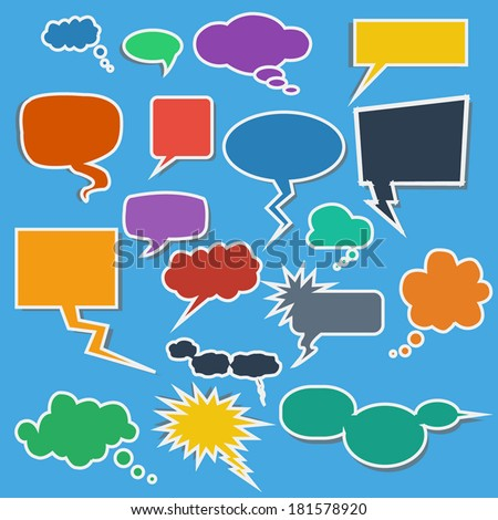 Colorful Comic Speech Bubbles on Blue Background.